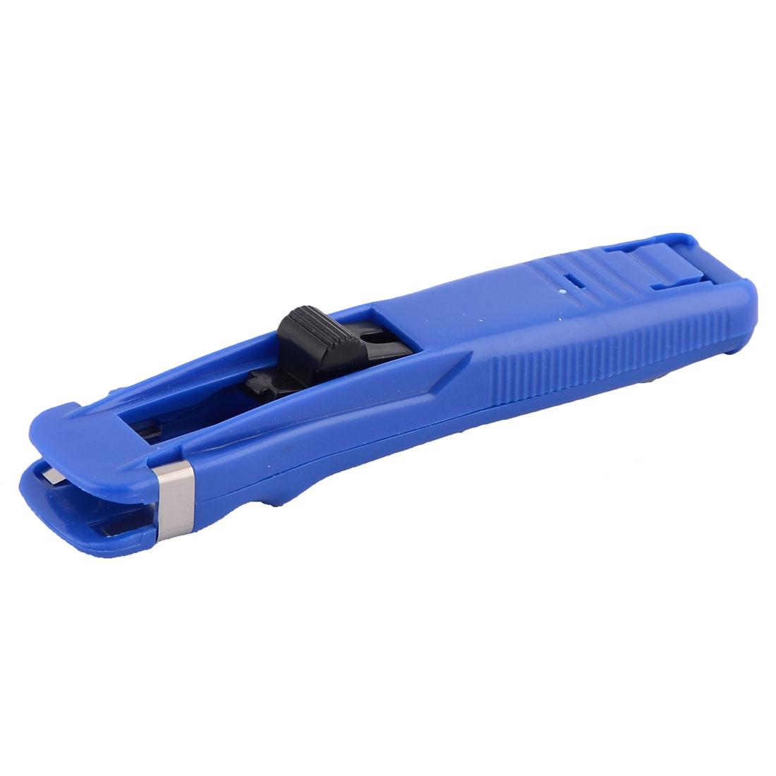 Office Plastic Paper Fast Clam Clip Stapler Dispenser Blue