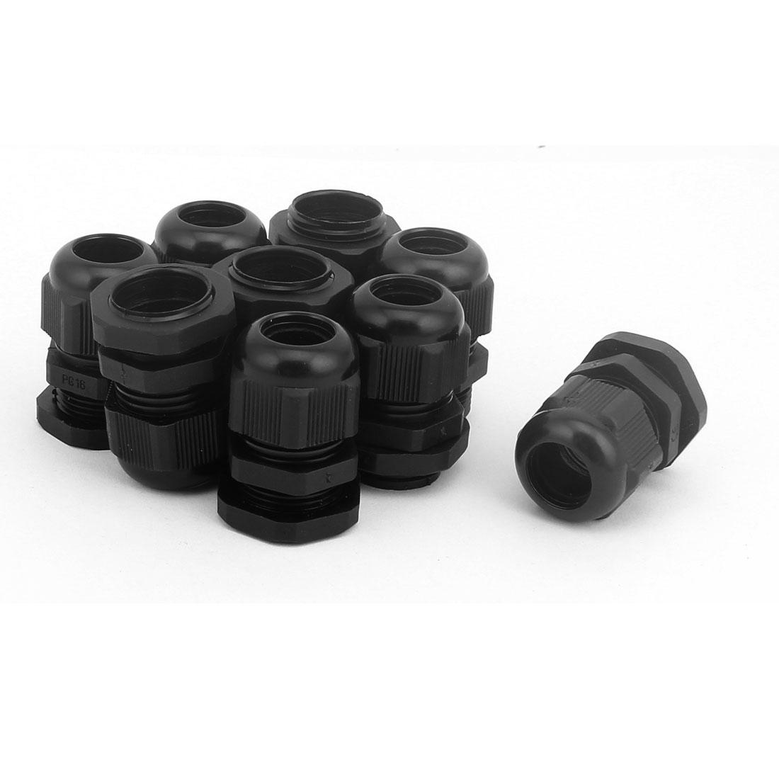 22mm OD Plastic Waterproof Connectors Cable Glands Connector 9 Pcs Black
