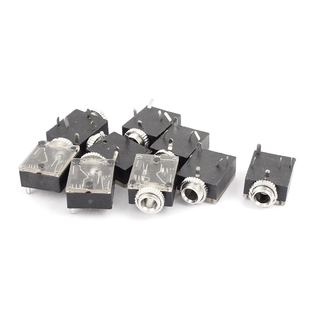 9 Pcs Plastic PCB Panel Mount 5 Terminal Female 3.5mm Earphone Audio Jack Socket