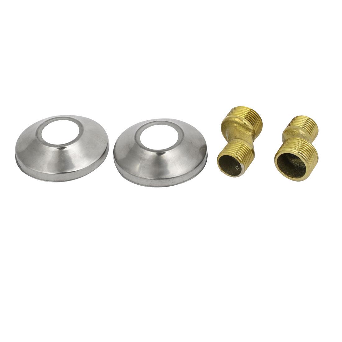 3/4BSP to 1/2BSP Male Thread Faucet Adapter 65mm Dia Round Decorative Cap 2pcs