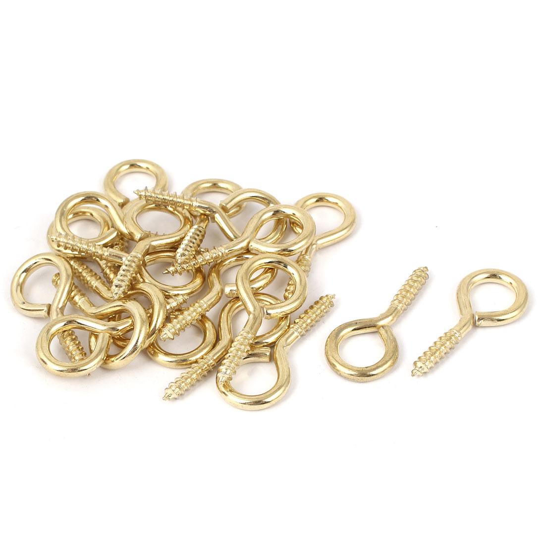 Jewelry Garden Vine Wire 4.8mm Thread Dia Eyelet Screw Eye Hook Gold Tone 20pcs