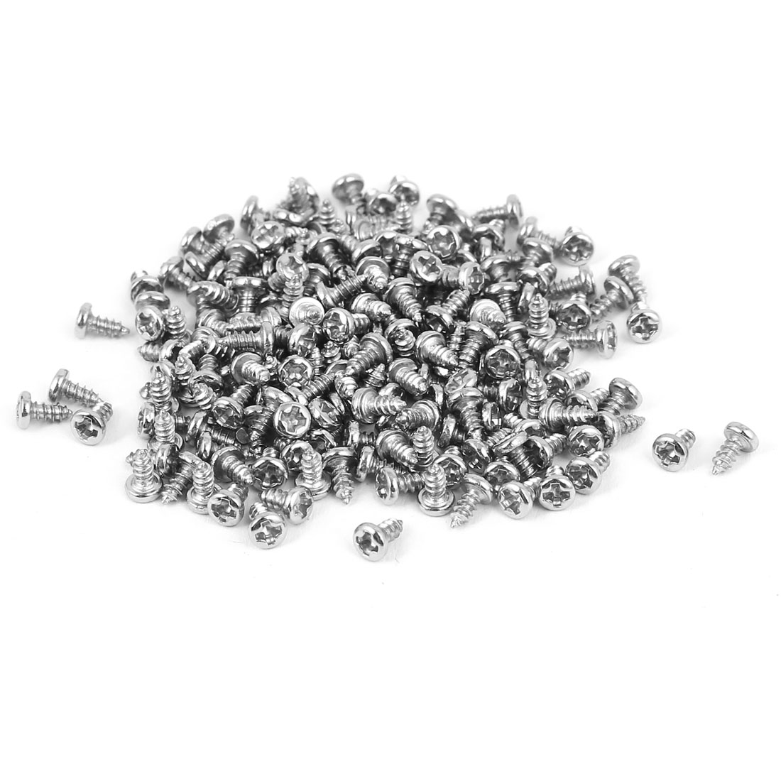 M1.7x4mm Thread Nickel Plated Phillips Round Head Self Tapping Screws 200pcs
