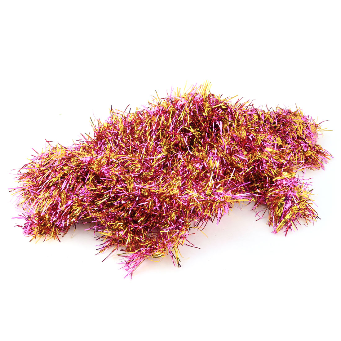 Festival Party Shining Hanging Ornament Tinsel Garland Purple and Gold Tone 1.9M 5 PCS