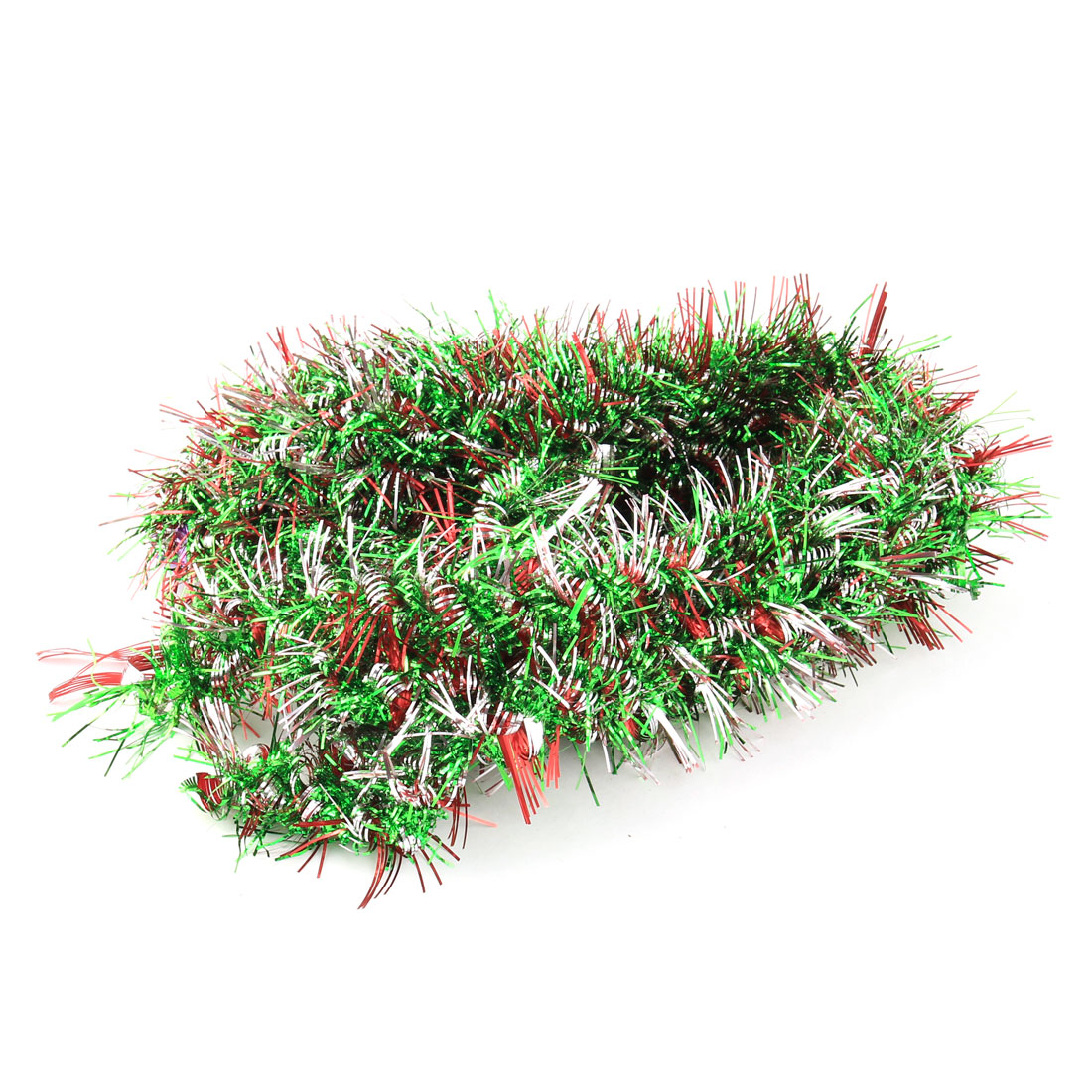 Festival Wedding Party Decoration Tinsel Garland Red Green Silver Tone 1.9M 5pcs