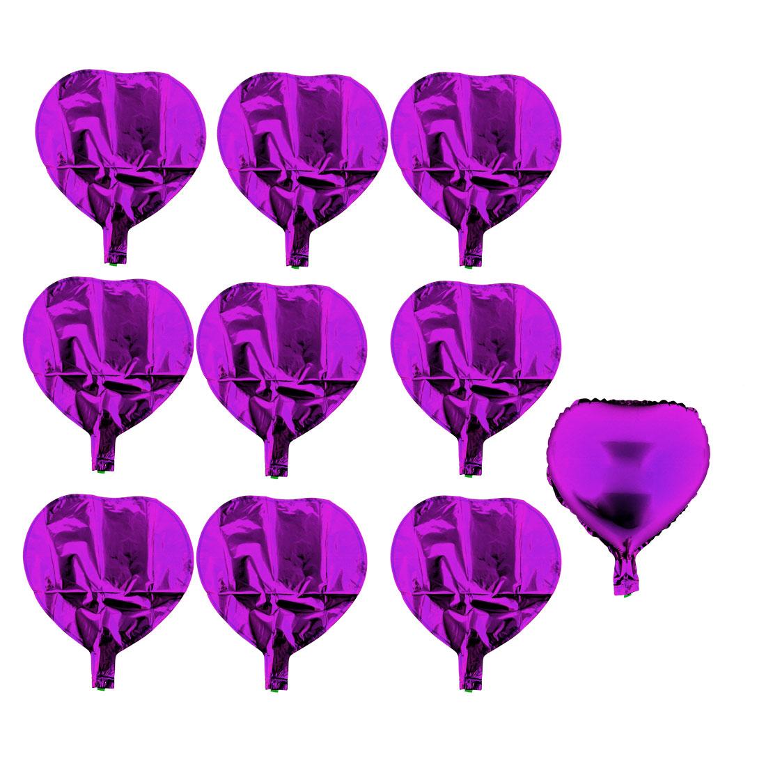 Christmas Festival Party Foil Heart Shaped Decoration Balloon Love Balloons Purple 10 PCS