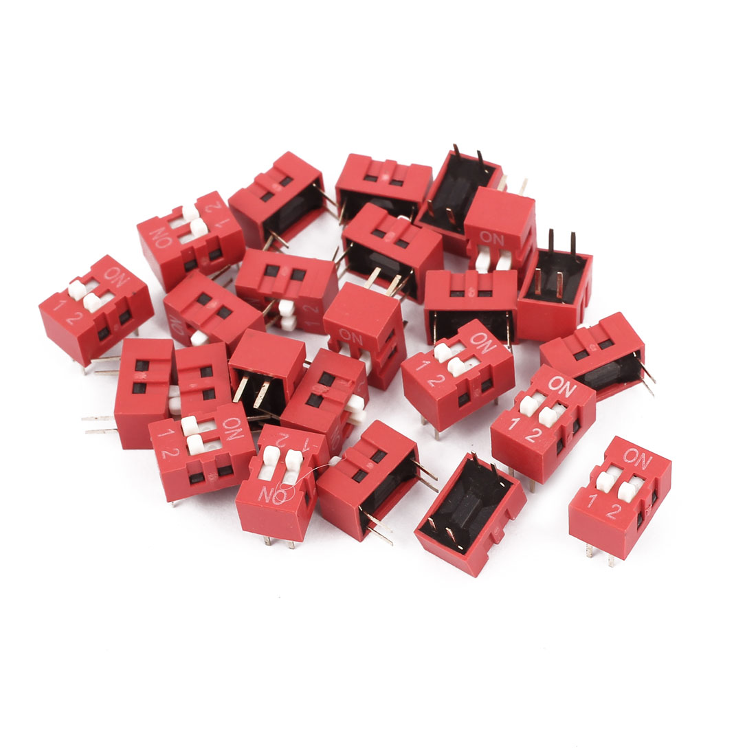 24 Pcs DIP Switch 2 Row 4 Terminals 2 Positions Sliding Switch 2.54mm Pitch