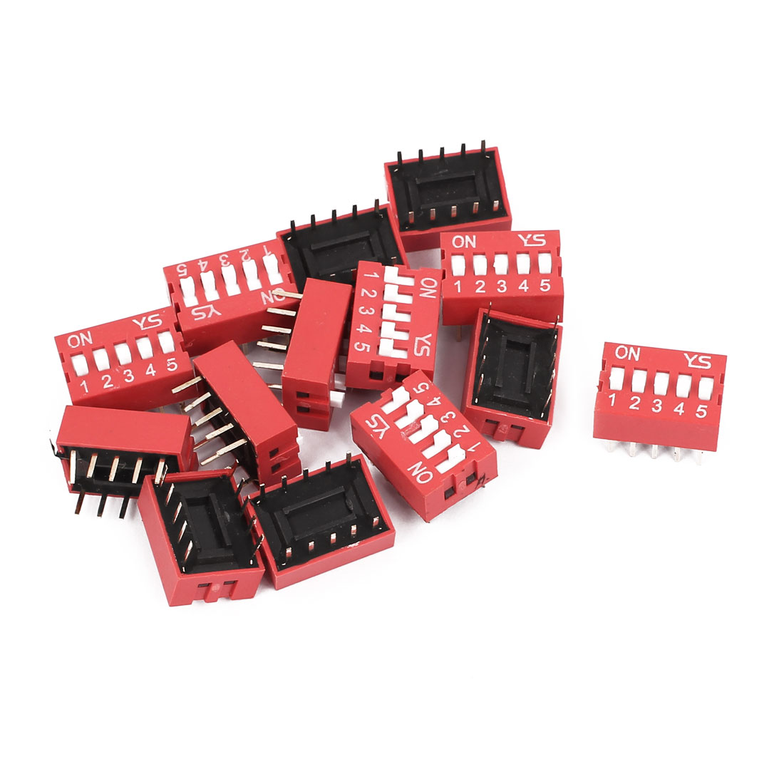 14 Pcs DIP Switch 2 Row 10 Terminals 5 Positions Sliding Switch 2.54mm Pitch