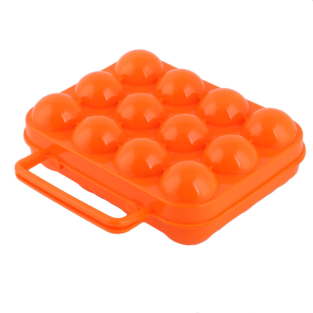 Outdoor Picnic Garden Plastic Portable 12 Slots Folding Egg Storage Box Orange