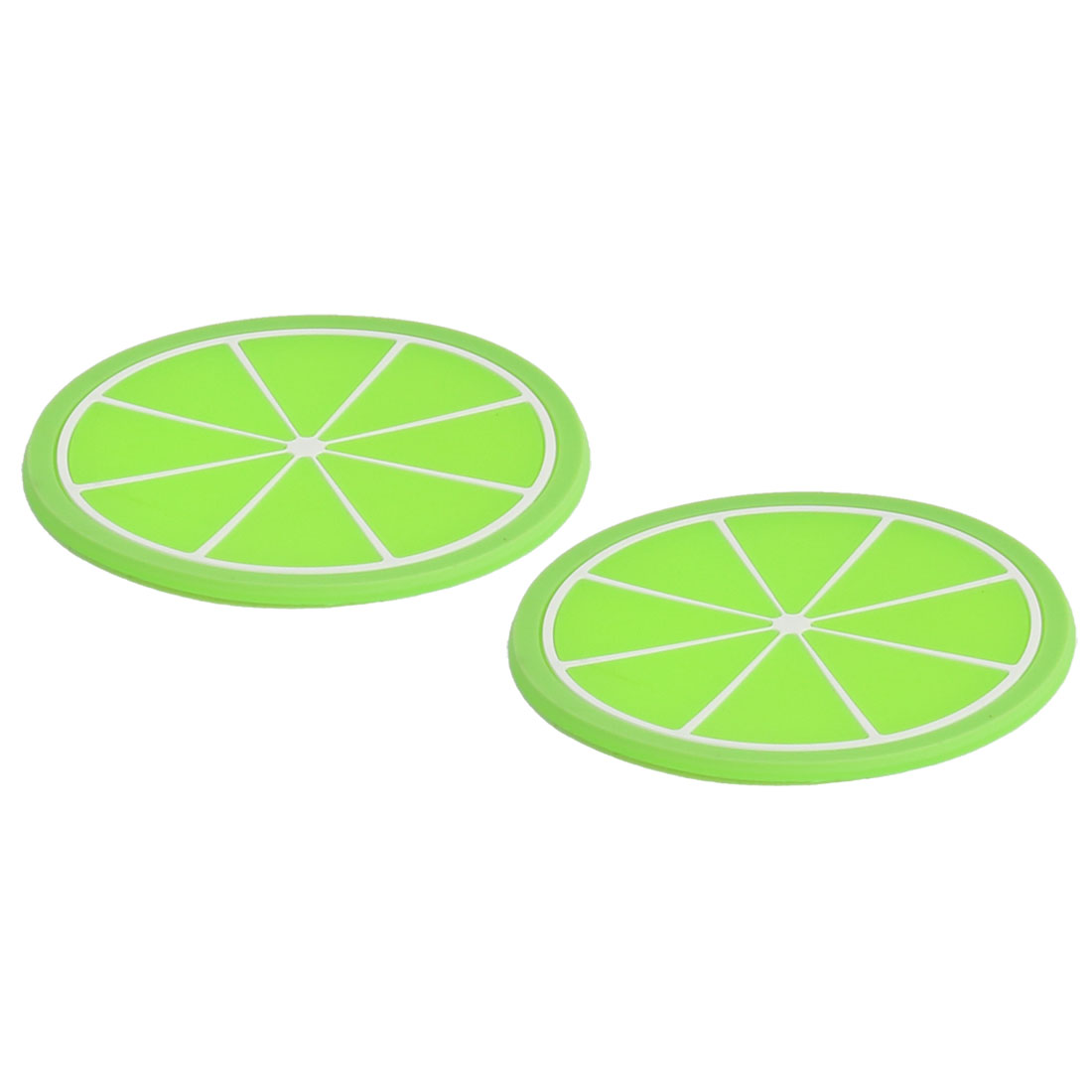 Household Tableware Silicone lime Pattern Heat Insulation Water Resistant Pad Mat Green 2pcs