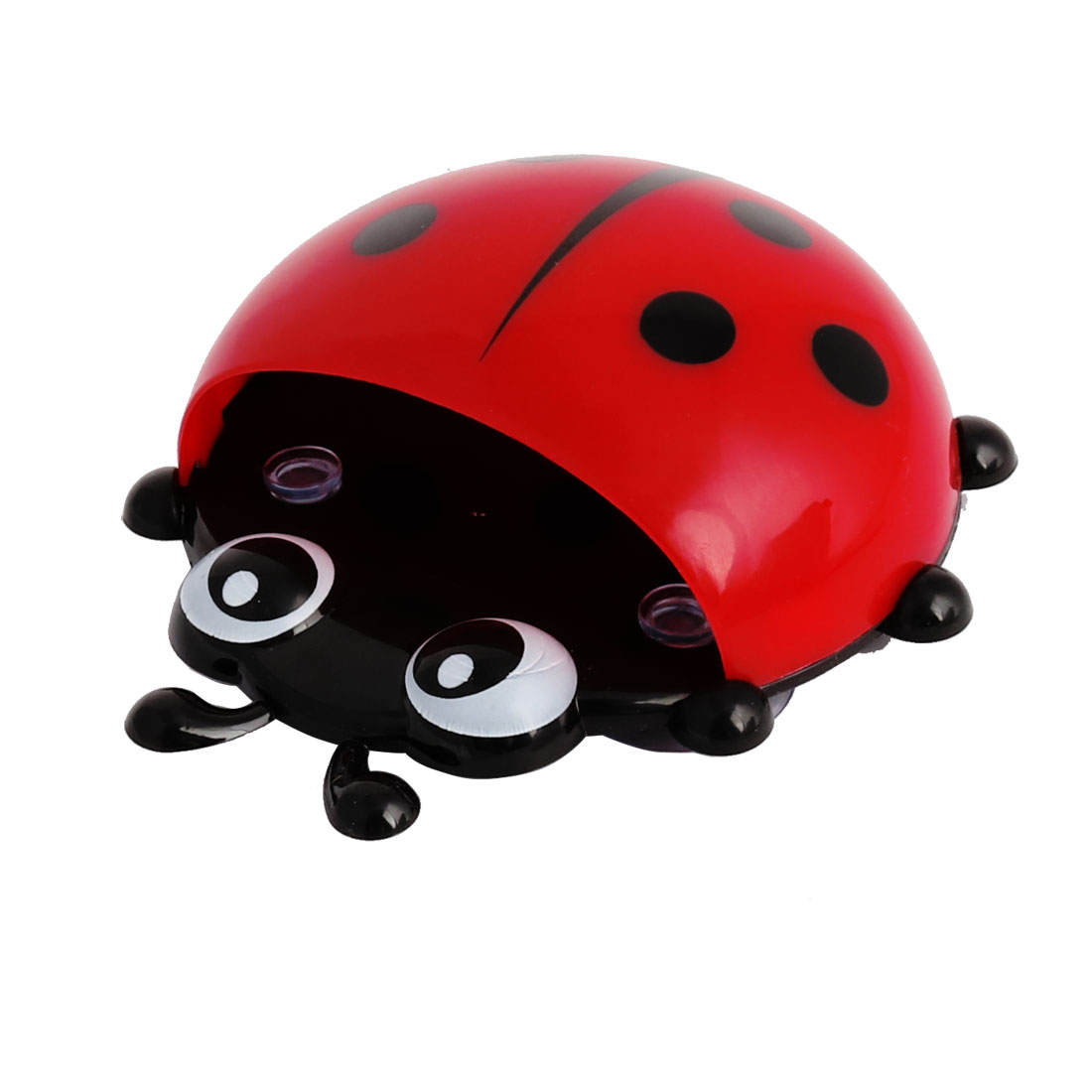 Bathroom Plastic Ladybird Pattern Suction Cup Toothbrush Holder Organizer Red