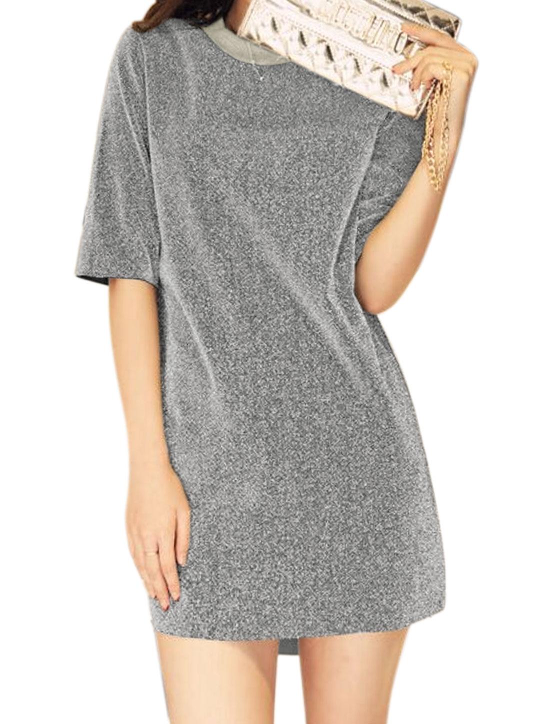 Women Crew Neck Half Sleeves Mini Metallic Dress Silver XS