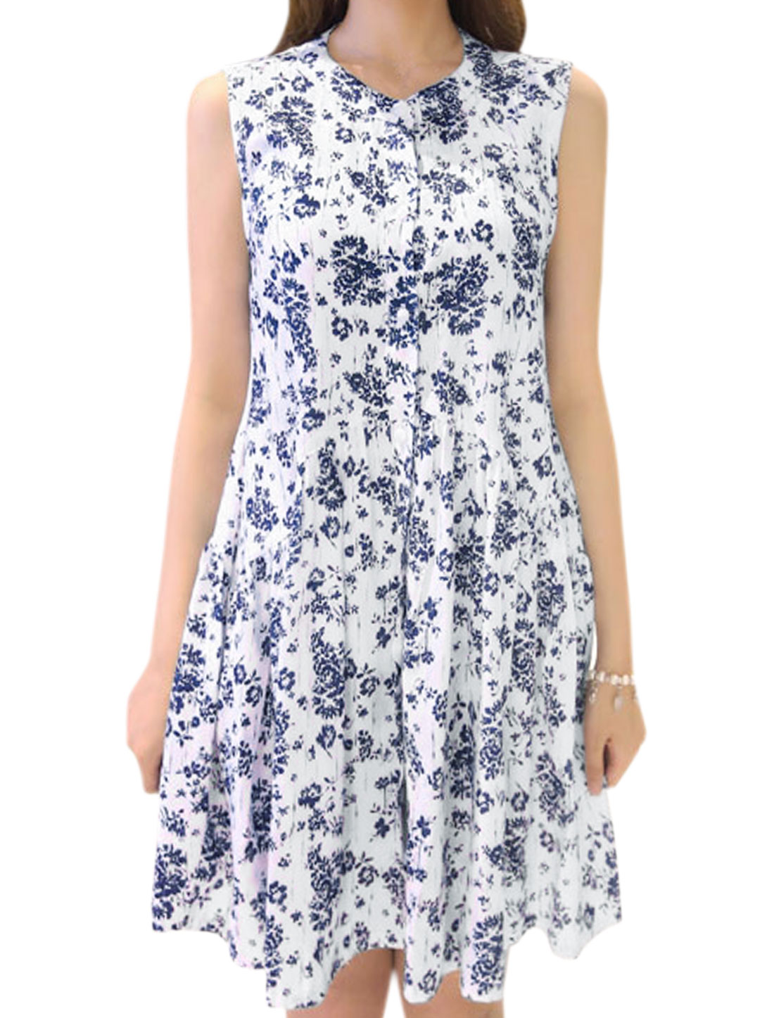 Women Floral Prints Button Closure Sleeveless Tunic Dress White S