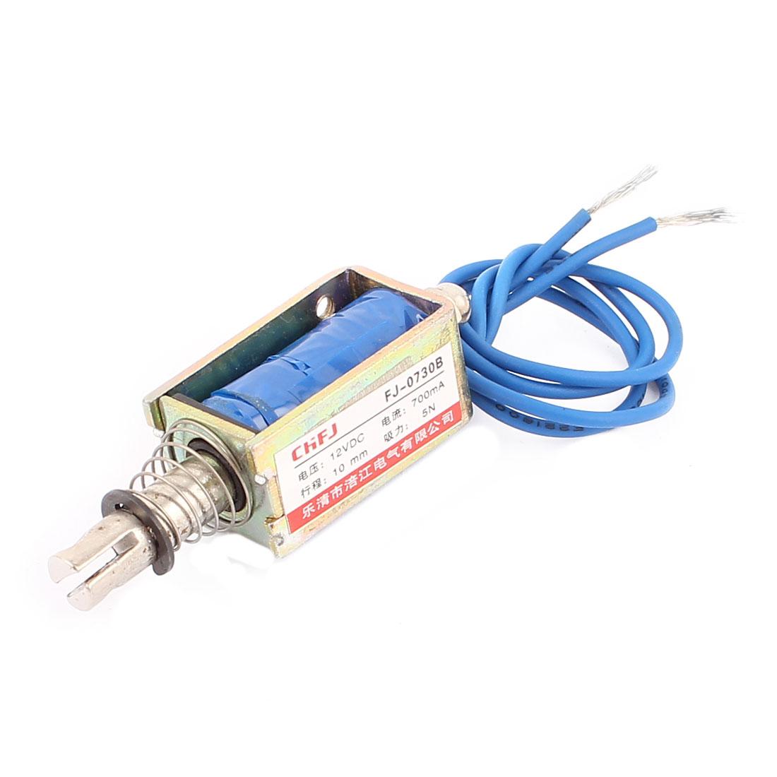 DC12V 700mA 10mm 5N Spring Load Push Pull Actuator Electromagnet Solenoid FJ-0730B