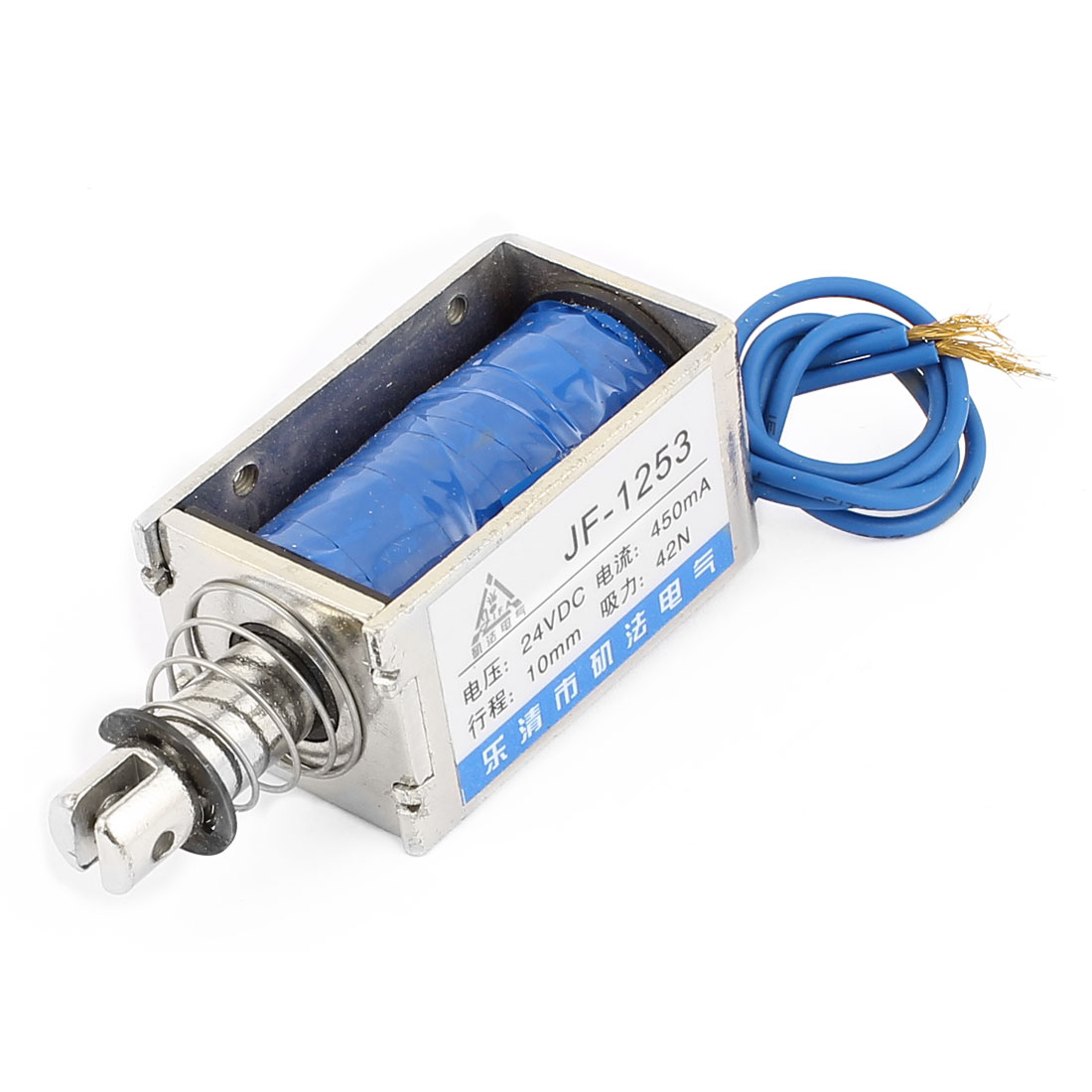 JF-1253 DC24V 42N Force 10mm Actuator 2-Wires Pull Push Open Frame Linear Motion Solenoid Electromagnet
