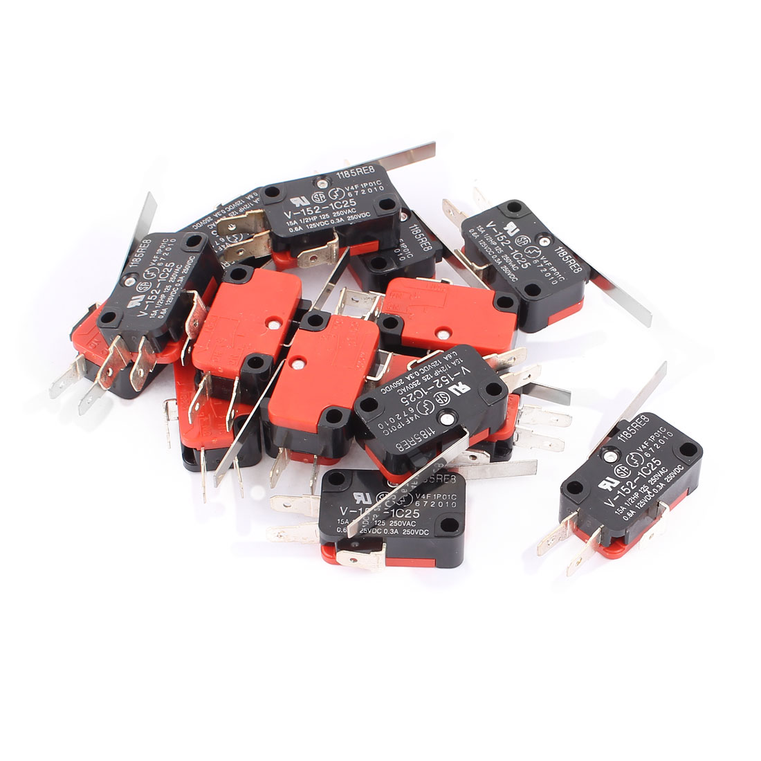 15 Pcs V-152-1C25 Straight Lever Momentary Micro Switch SPDT 2 Point ON/OFF