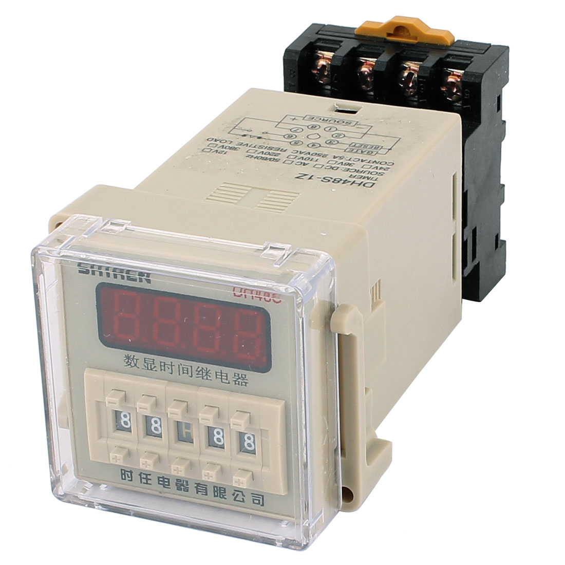 DH48S-11 AC/DC110V 11 Terminals 0.01S-9999H LCD Display Time Timer Delay Relay w Socket