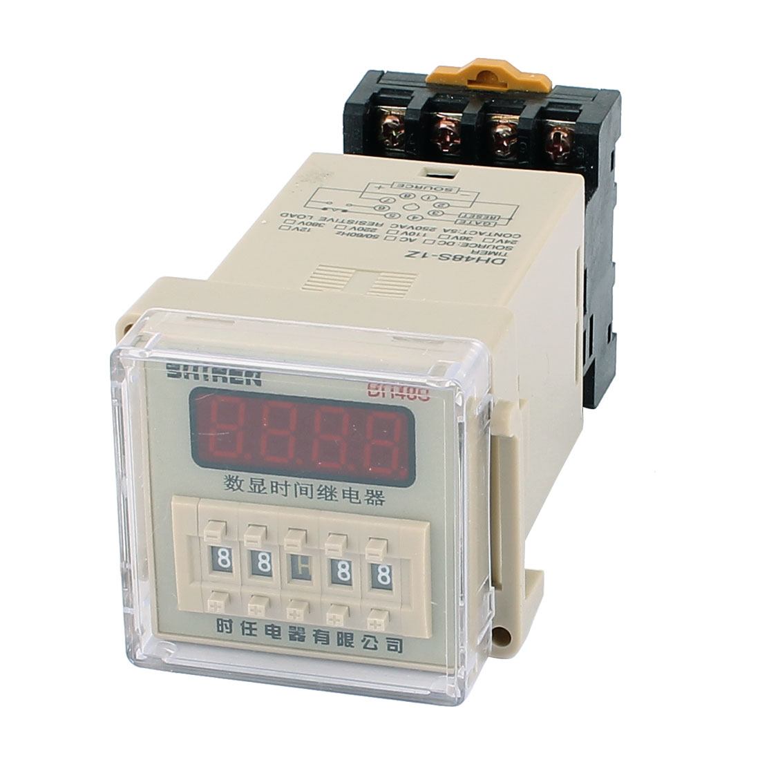 DH48S-11 AC/DC12V 11 Terminals 0.01S-9999H LCD Display Time Timer Delay Relay w Socket