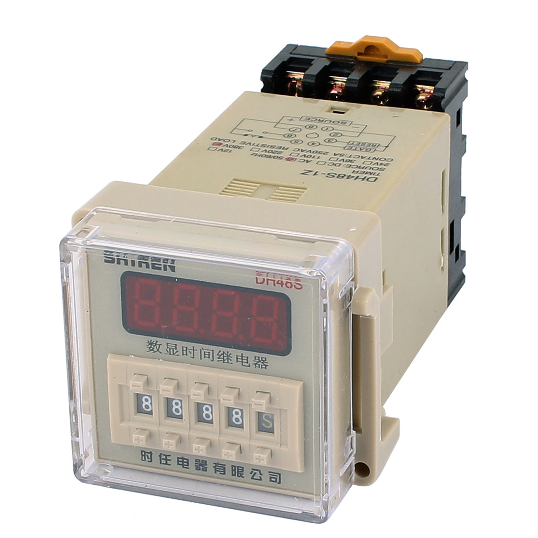 DH48S-1Z 8 Terminals SPST 0.01S-9999H LCD Display Time Timer Delay Relay AC 380V w Socket