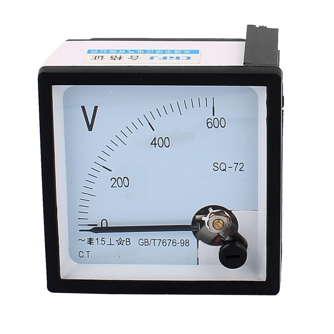 SQ-72 Pointer Needle AC 0-600V Voltmeter Tester Panel Analog Ammeter 72mm x 72mm