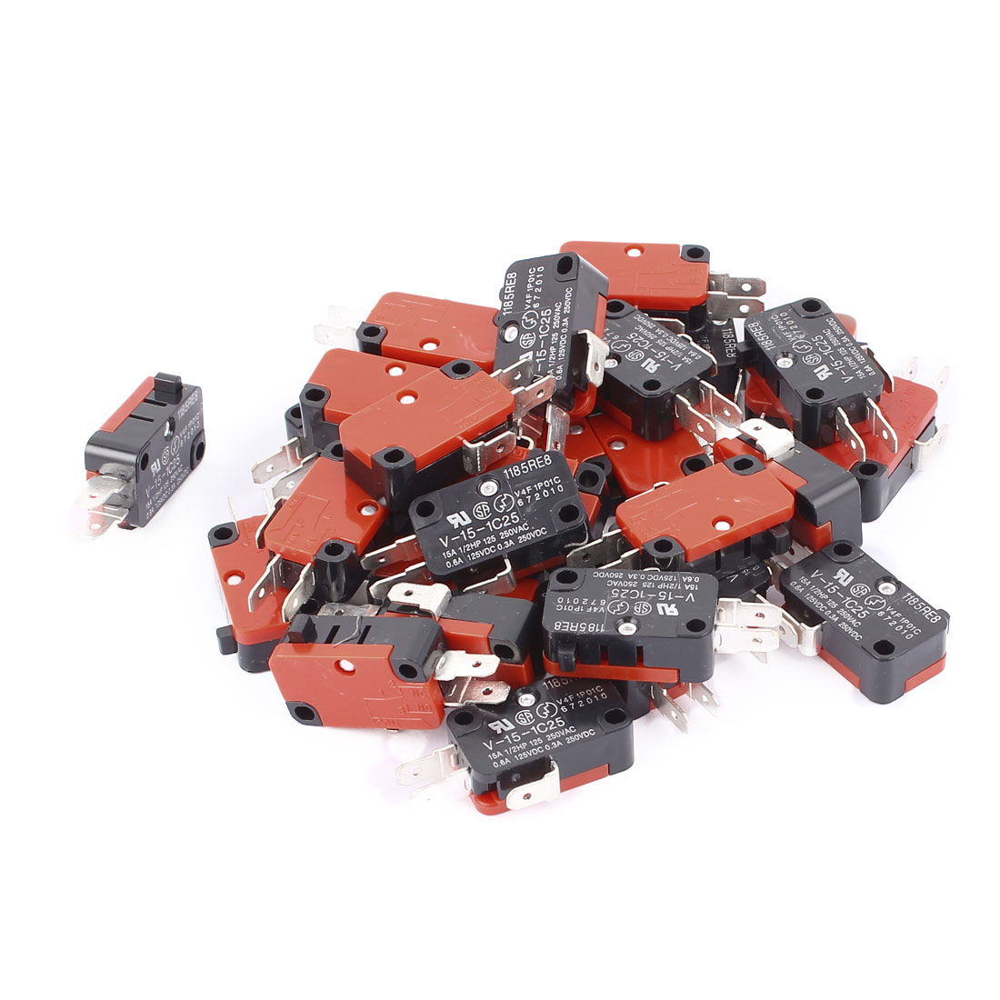 20Pcs AC250V/125V 15A Snap Action Push Button SPDT Momentary Mini Limit Switch