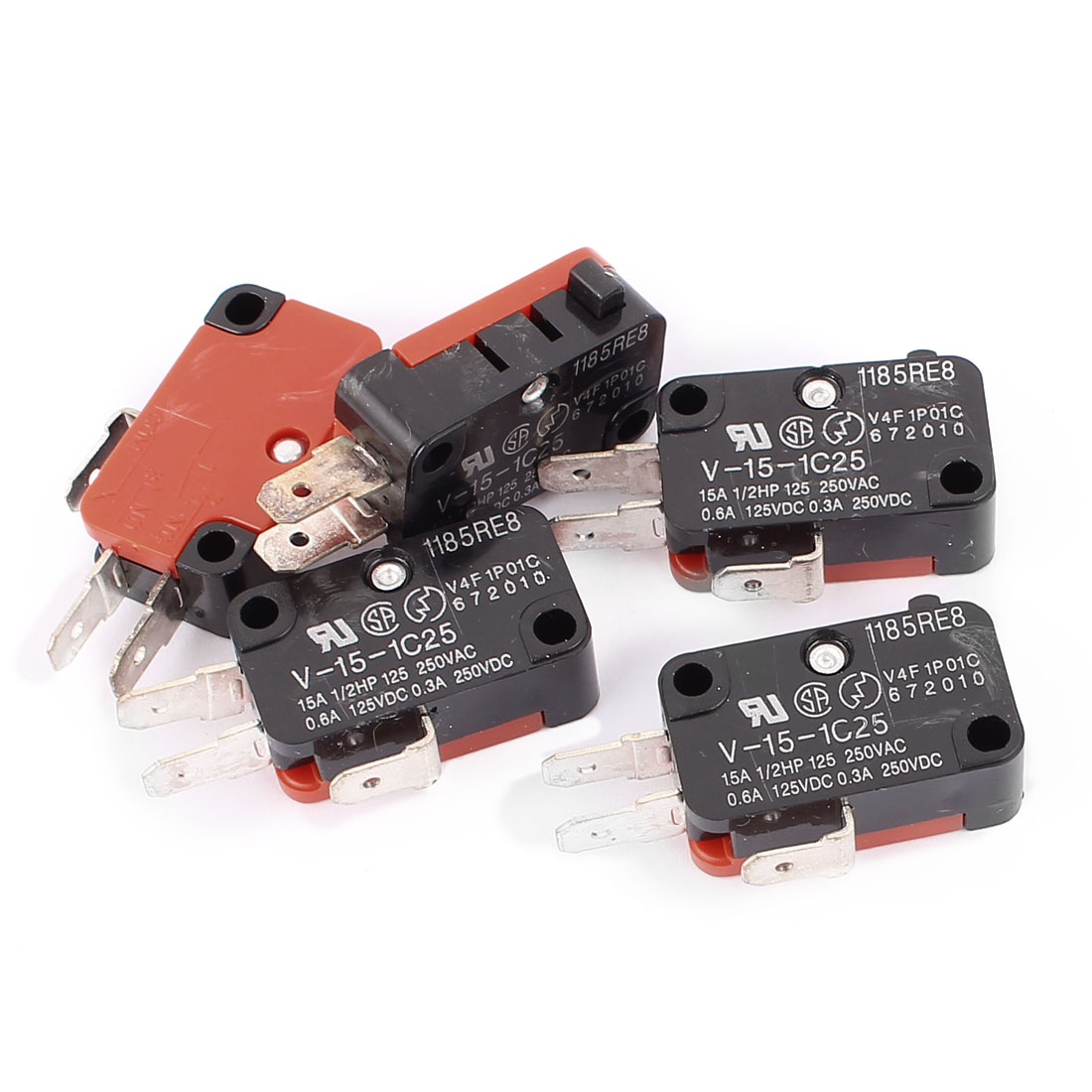 5 Pcs V-15-1C25 Snap Action Push Button SPDT Momentary Mini Limit Switch