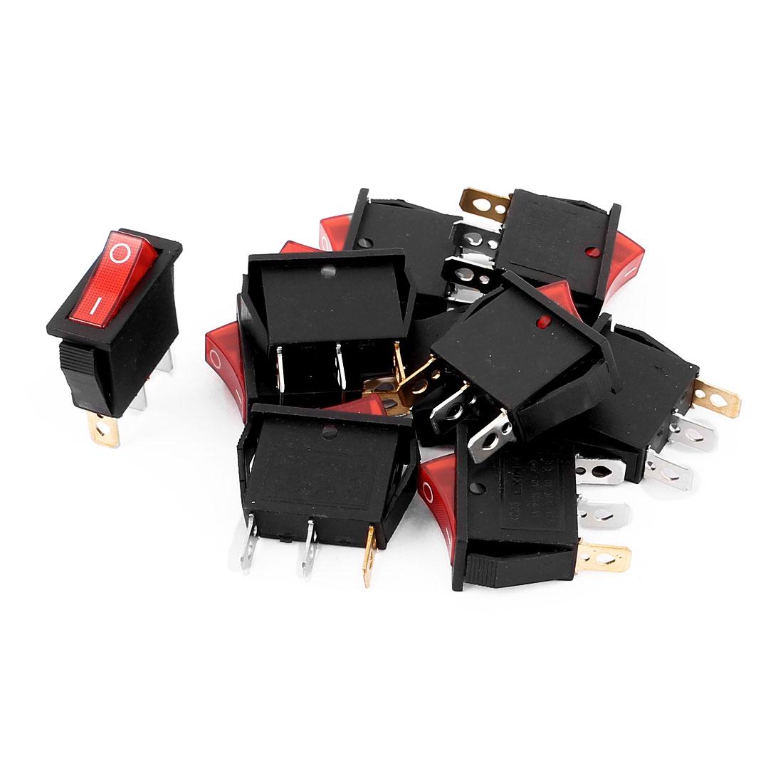 10Pcs Red Light SPST I/O 2 Position Rocker Switch 16A 250VAC 20A 125VAC