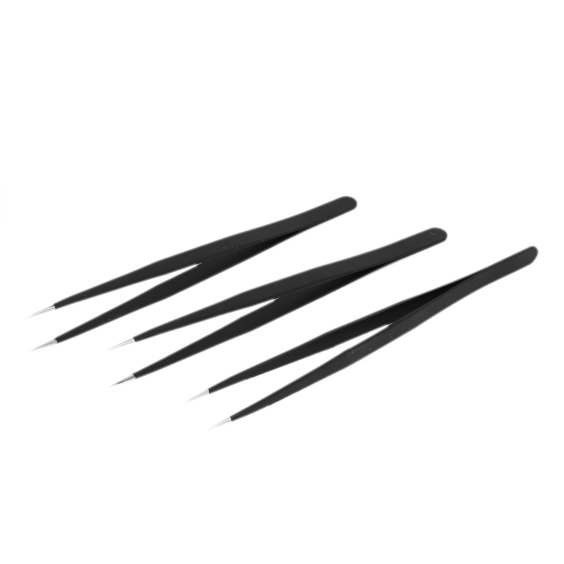140mm Length 8mm Width Non-magnetic Straight Tip Tweezer Manual Tool Black 3pcs