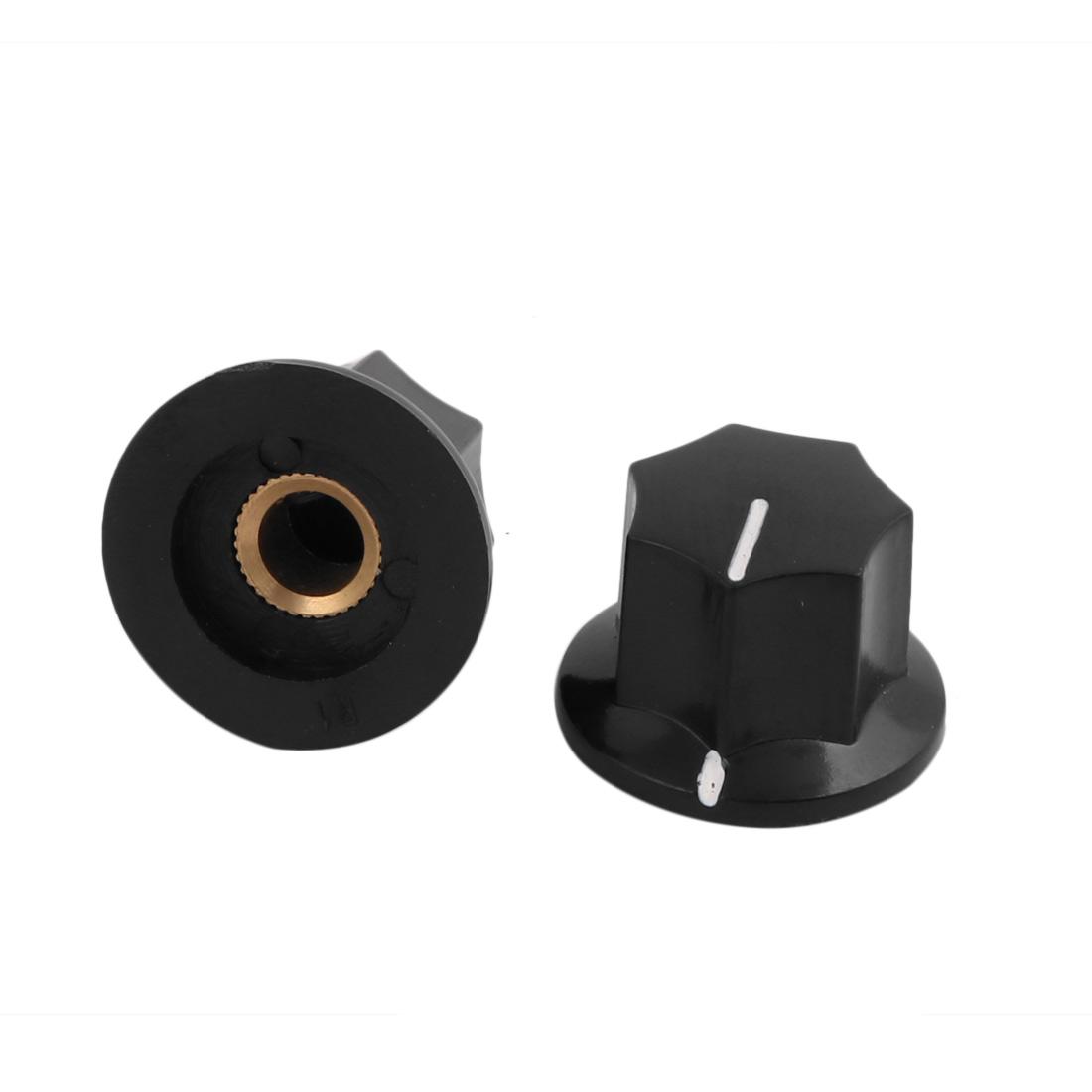 2 pcs Nonslip Rotary Potentiometer Control Knobs 6mm Shaft Dia Black