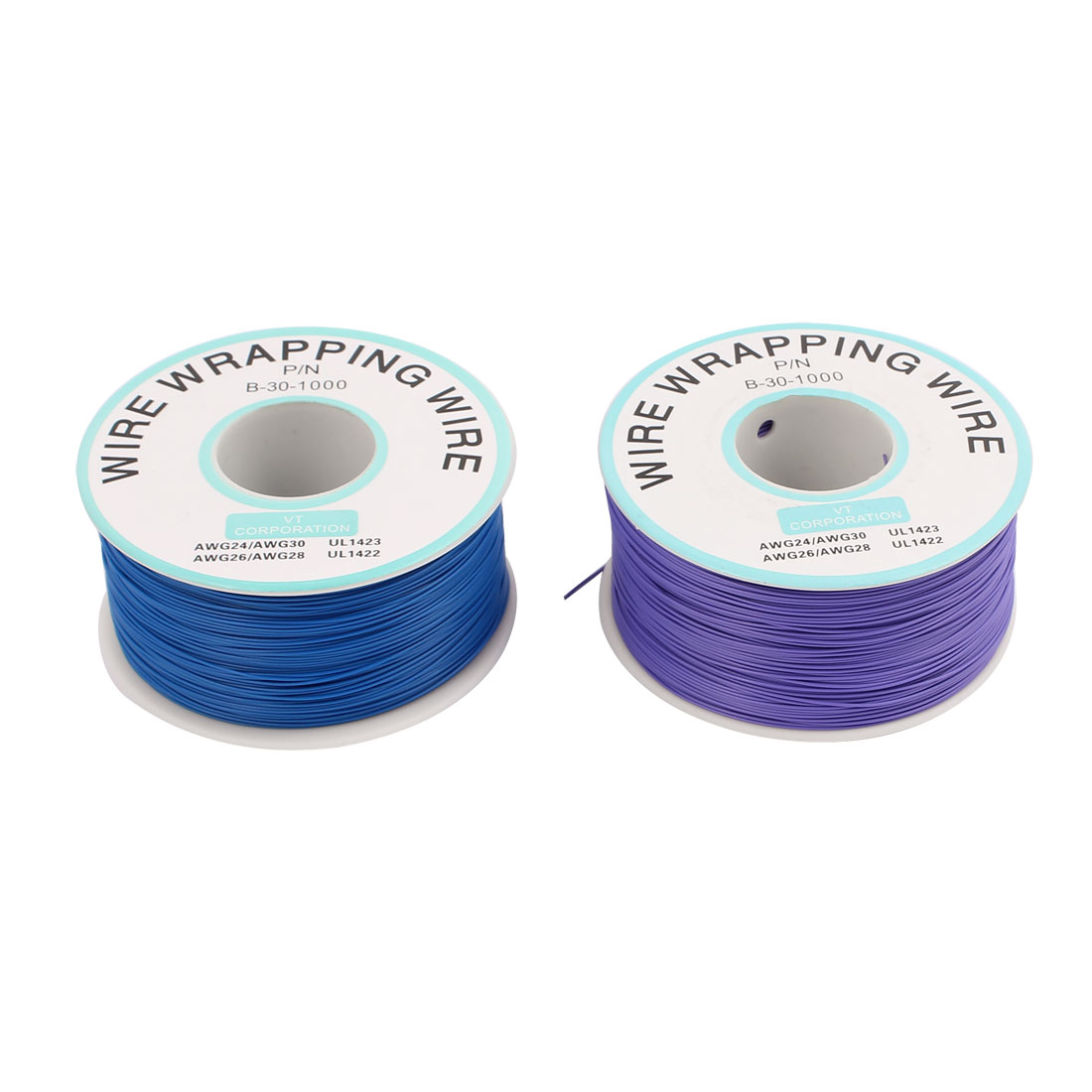 PCB Solder Purple Blue Flexible 0.25mm Core Dia 30AWG Wire Wrapping Wrap 820Ft