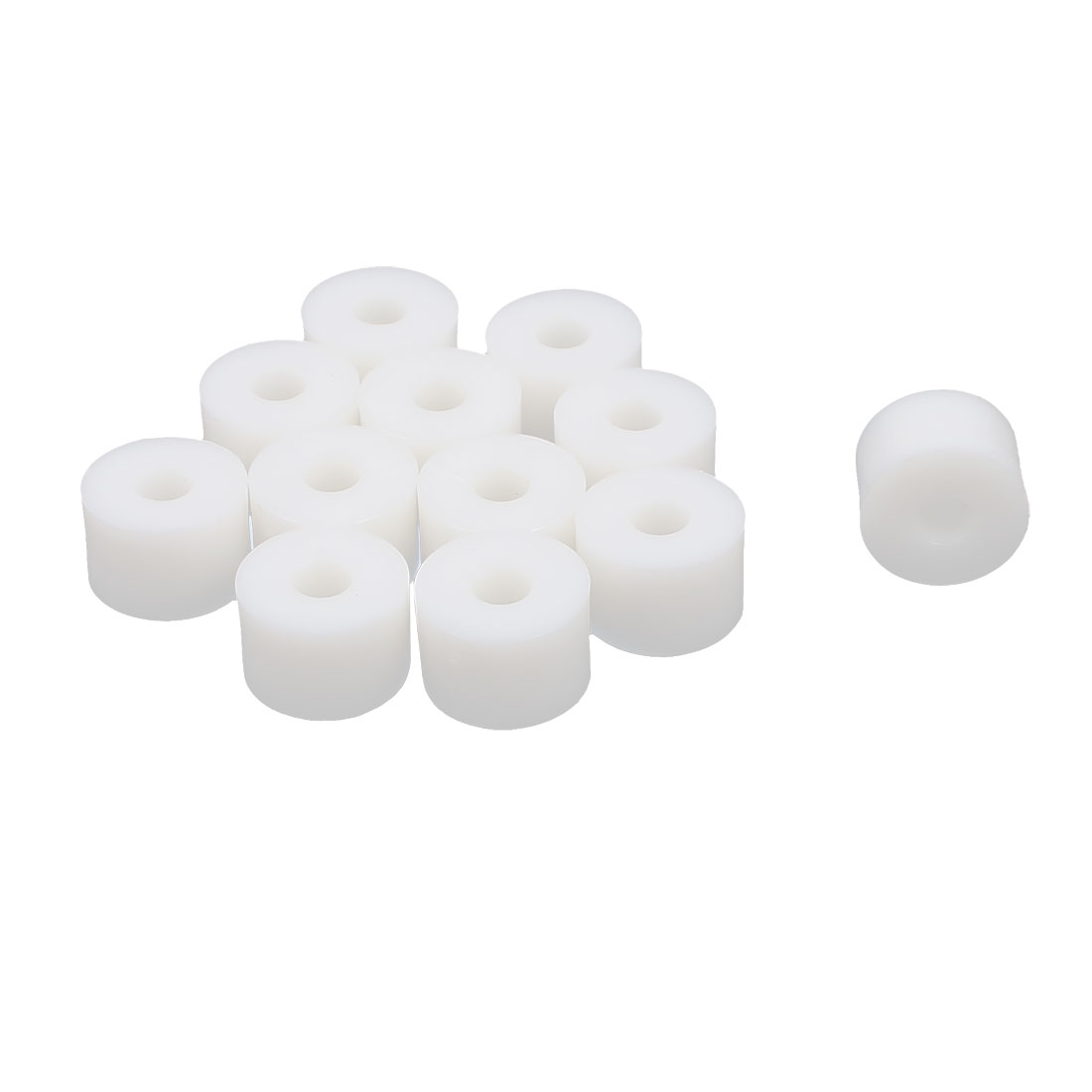 Round Plastic Non-threaded Insulation Column Standoff Support Spacer Washer White 15x10mm 12pcs