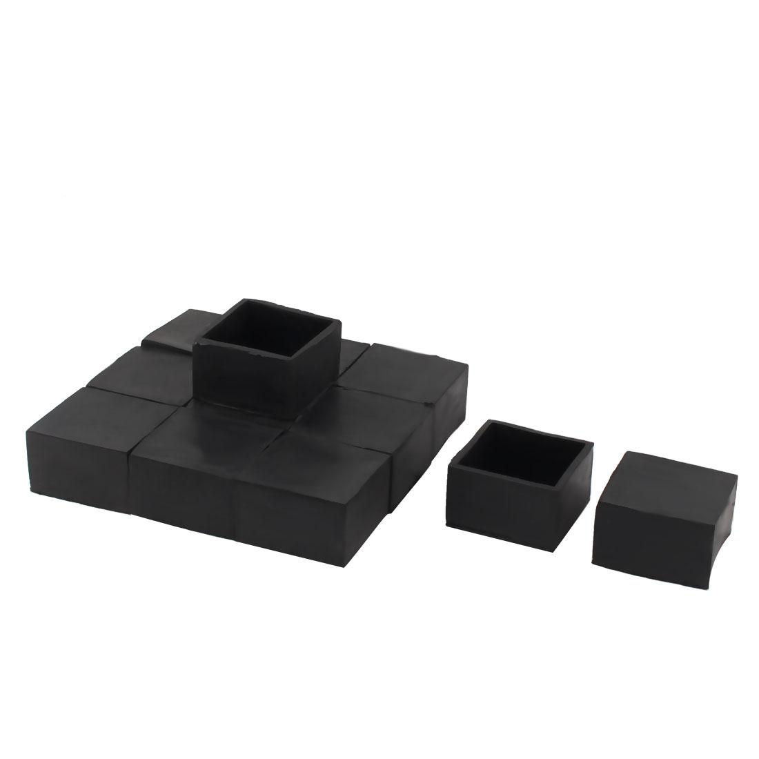 50mm x 50mm Square Tube Insert Table Desk Leg Foot Rubber End Caps Black 12pcs
