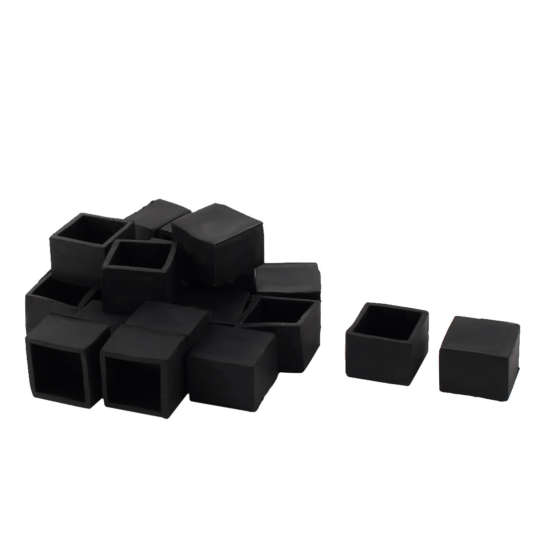 28mm x 28mm Square Tube Insert Table Desk Leg Foot Rubber Caps Cover Black 20pcs