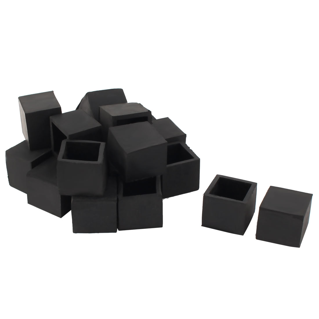 24mm x 24mm Square Tube Insert Table Desk Leg Foot Rubber End Caps Black 20pcs