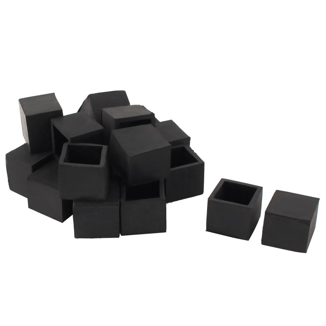 24mm x 24mm Square Tube Insert Table Desk Leg Foot Rubber End Caps Black 20pcs