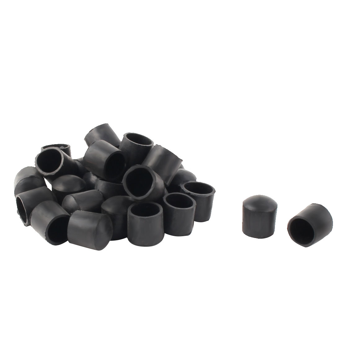 21mm Dia Round Tube Insert Table Desk Leg Foot Rubber Protector Caps Black 30pcs