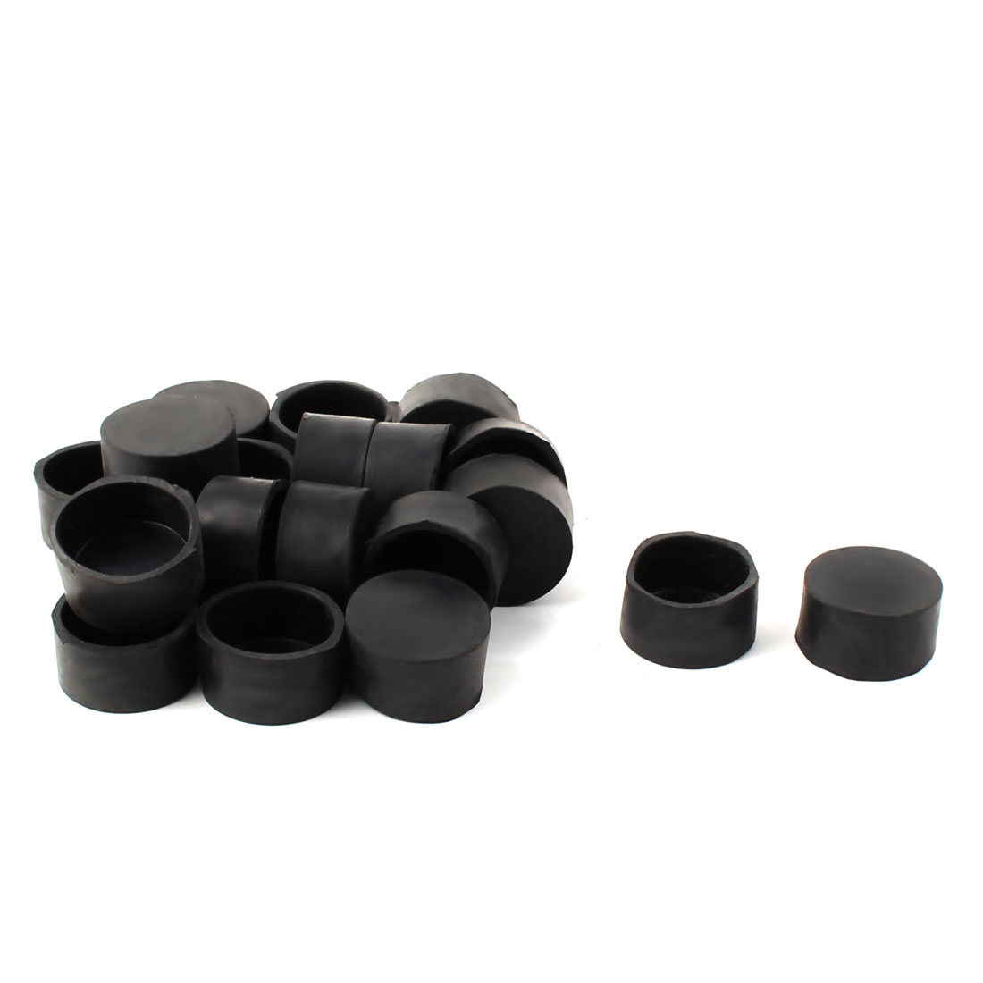 30mm Dia Round Tube Insert Table Desk Leg Foot Rubber Protector Caps Black 20pcs
