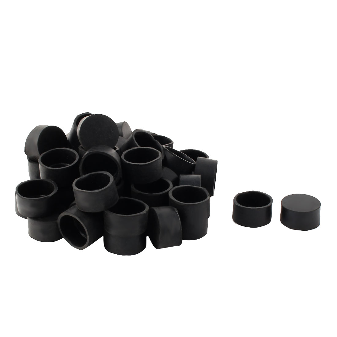 31mm Dia Round Tube Insert Chair Desk Leg Foot Rubber Caps Cover Black 50pcs