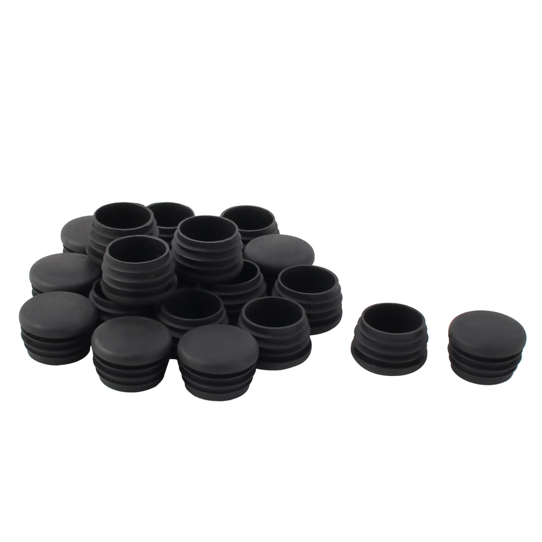 Plastic Round Tube Insert Blanking End Protectors Caps Black 32mm 20 PCS