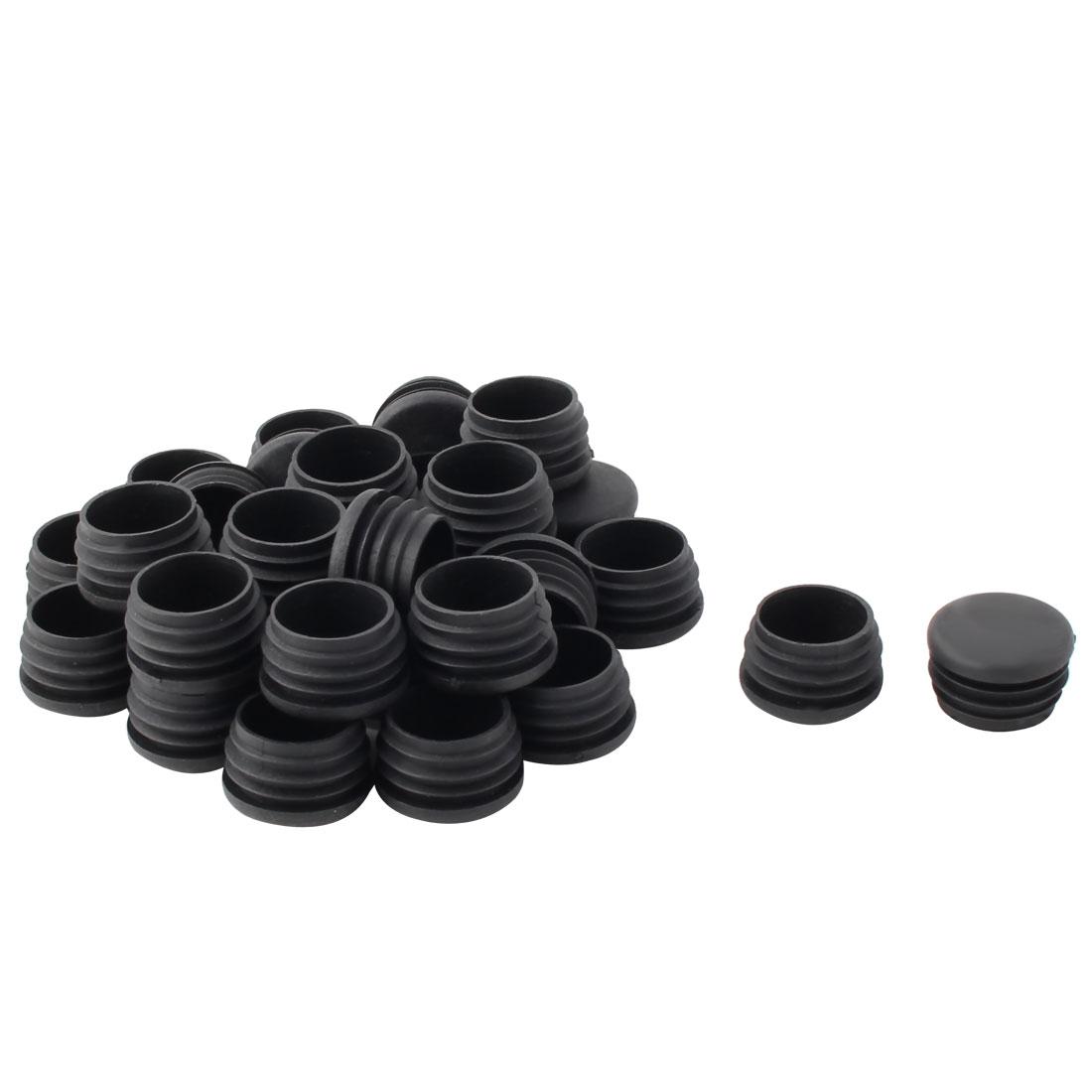 Plastic Round Tube Insert Blanking End Protectors Caps Black 32mm 30 PCS