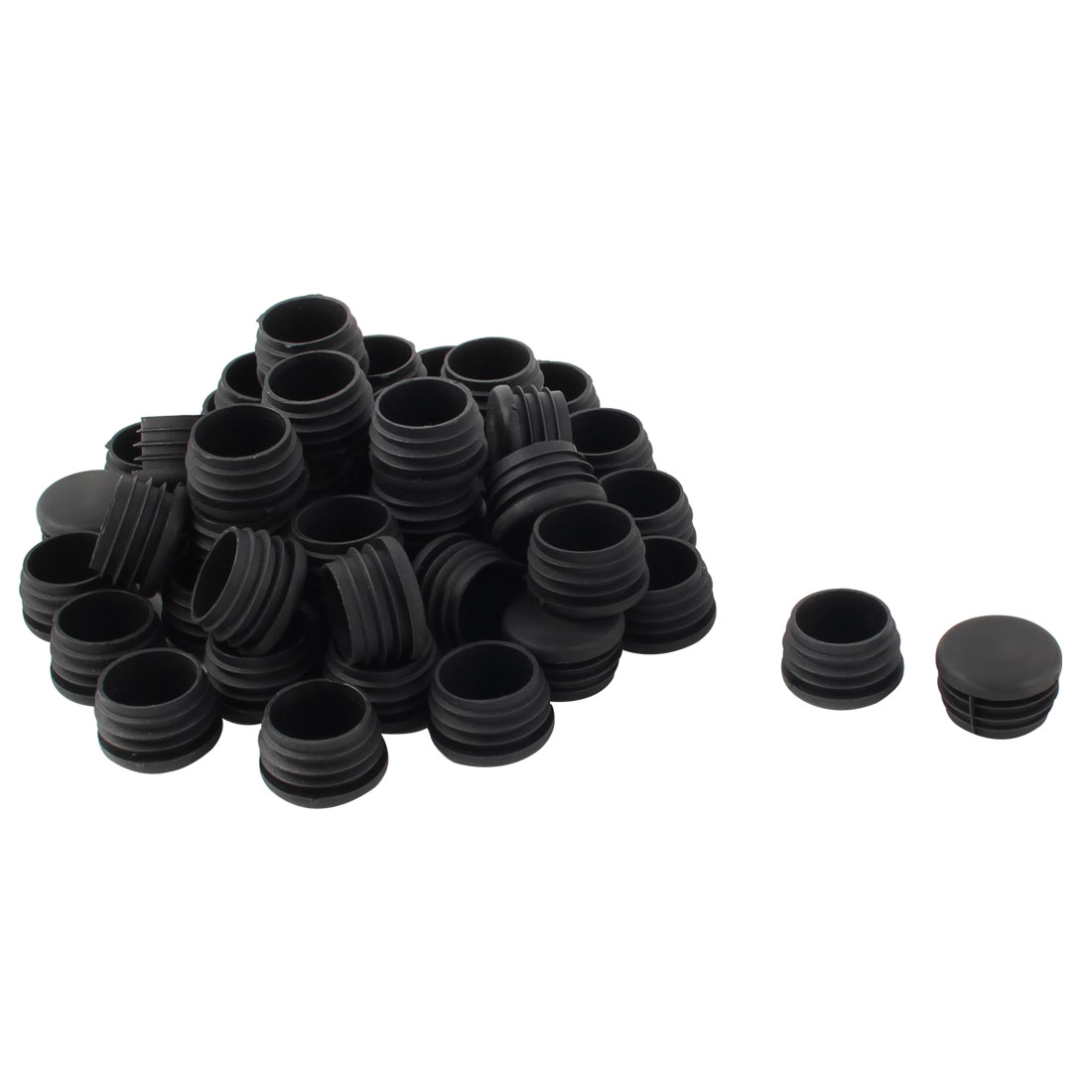 Plastic Round Tube Insert Blanking End Protectors Caps Black 32mm 50 PCS