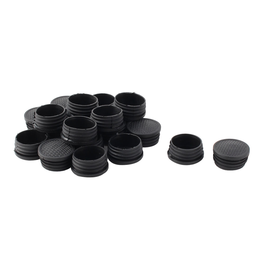 Plastic Round Tube Insert Blanking End Protectors Caps Black 42mm 20 PCS