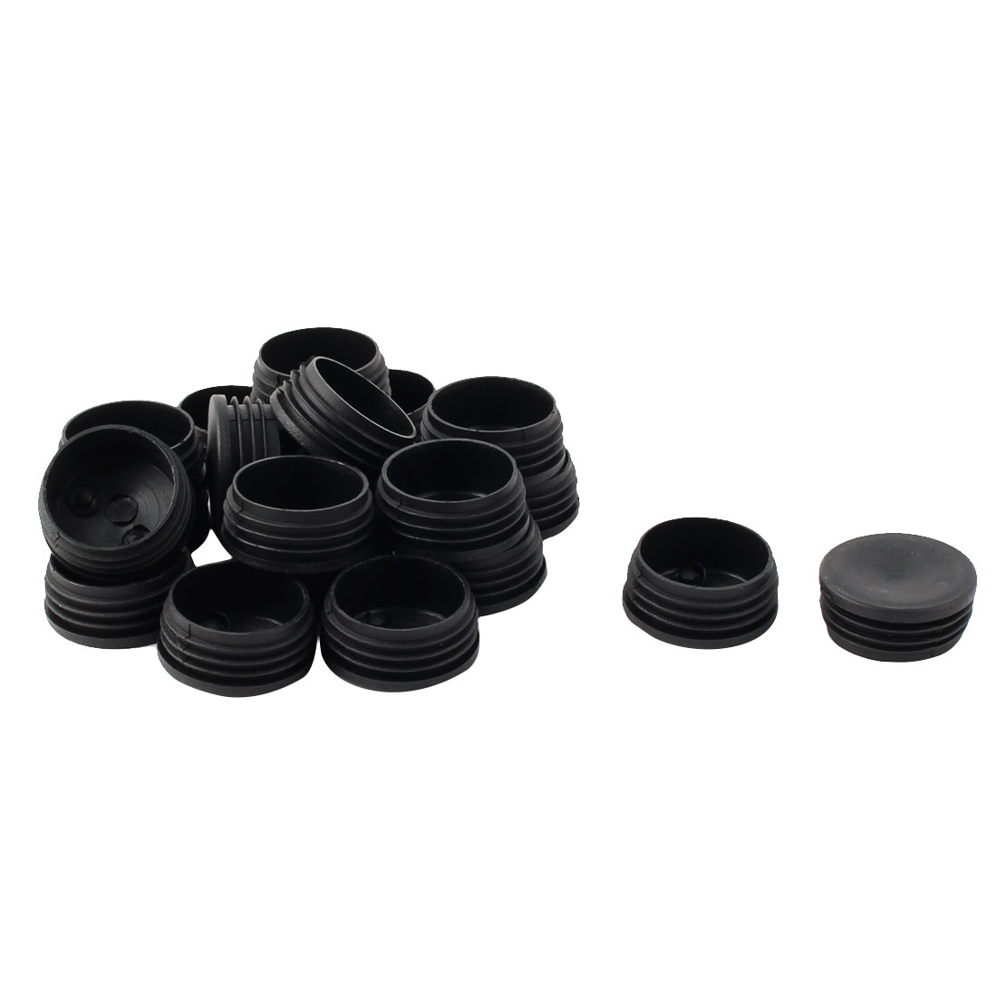 Plastic Round Tube Insert Blanking End Protectors Caps Black 45mm 20 PCS