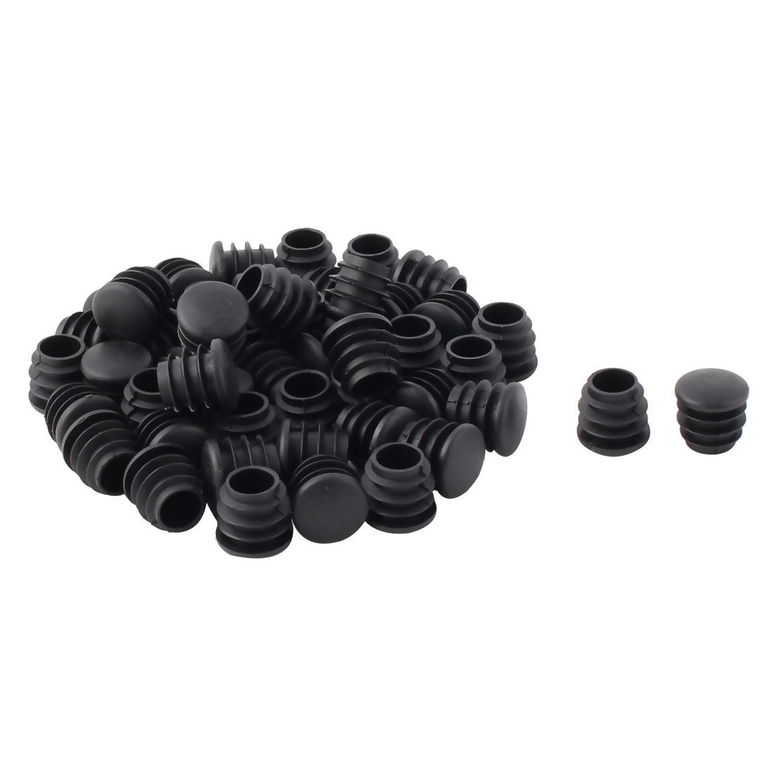 Plastic Round Tube Insert Furniture Piano Legs Protectors Caps Black 19mm 48pcs