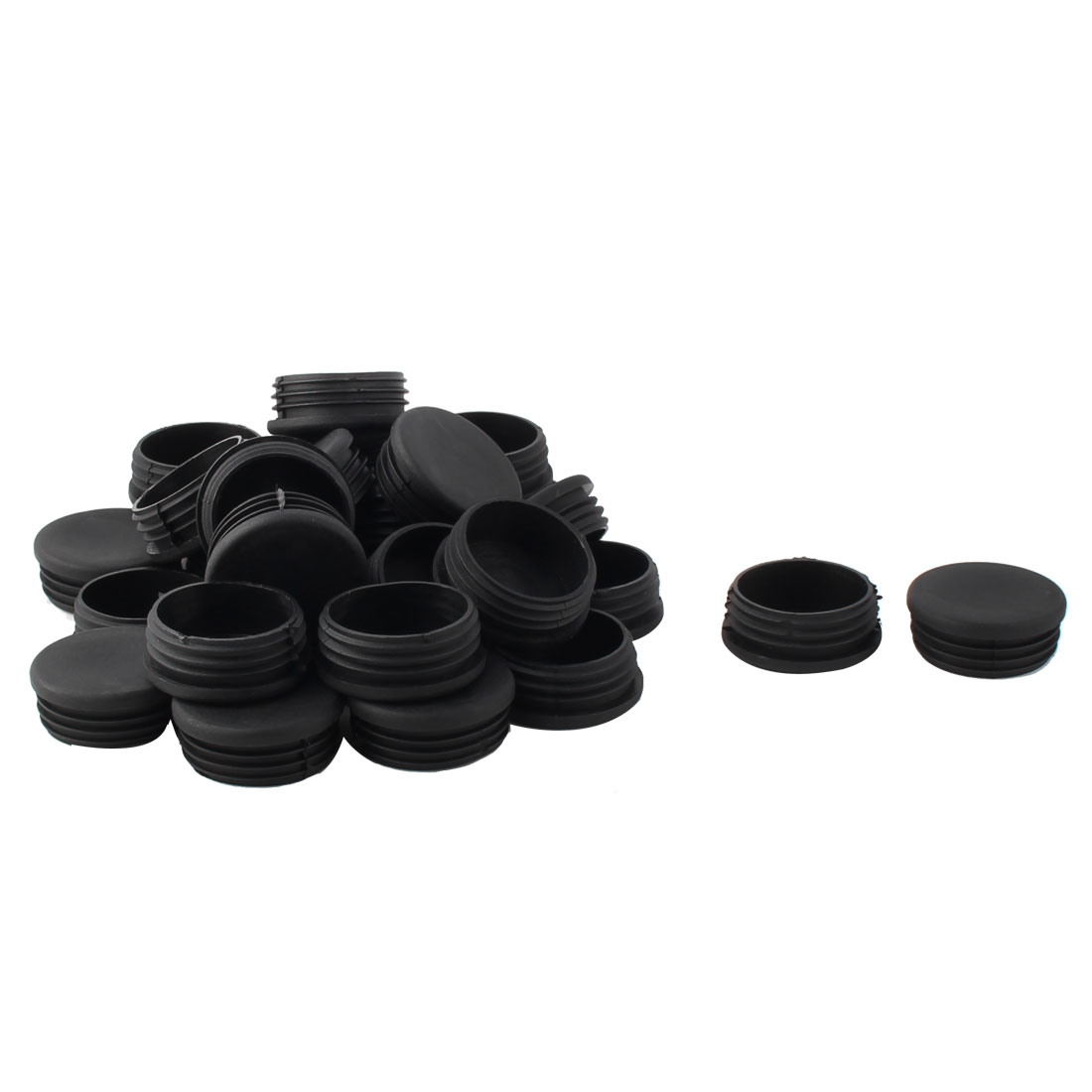 Plastic Round Tube Insert Blanking End Protectors Caps Black 50mm 30 PCS