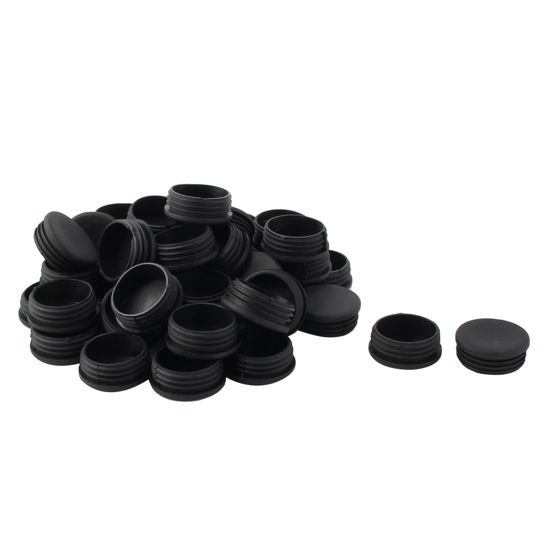 Plastic Round Tube Insert Blanking End Protectors Caps Black 50mm 45 PCS