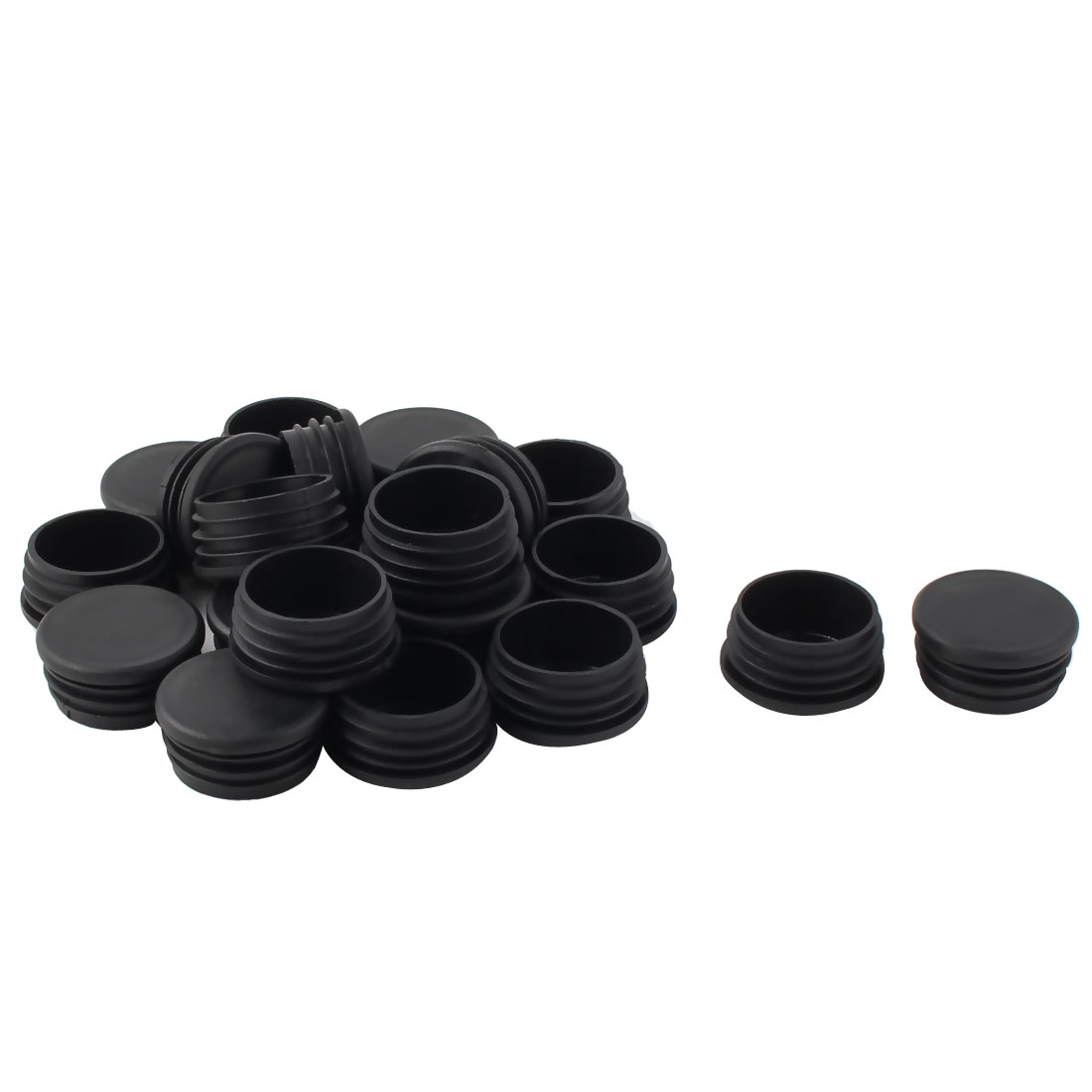 20 PCS Plastic Round Tube Insert Blanking End Protectors Caps Black 40mm