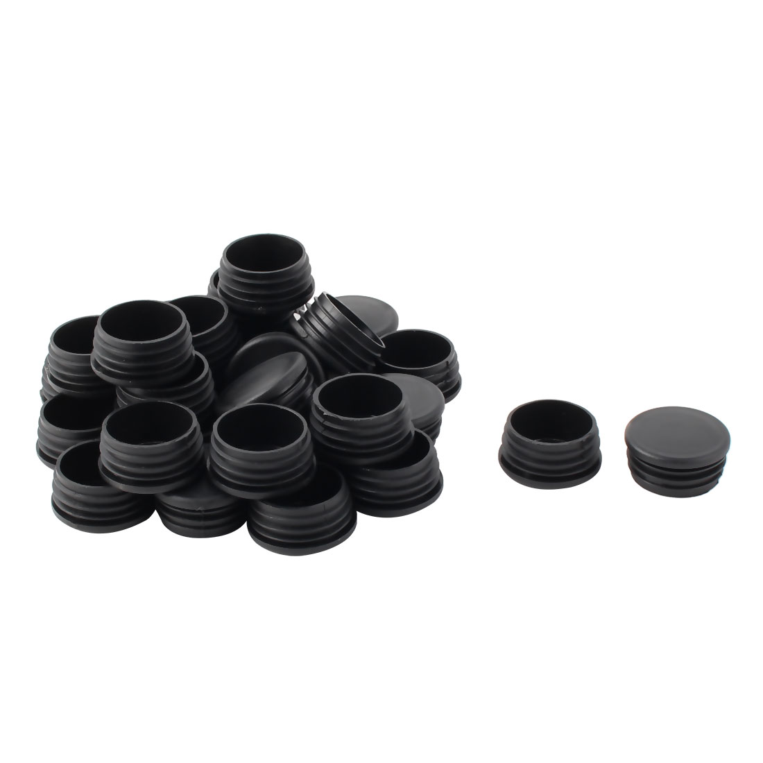 Plastic Round Tube Insert Blanking End Protectors Caps Black 40mm 28 PCS