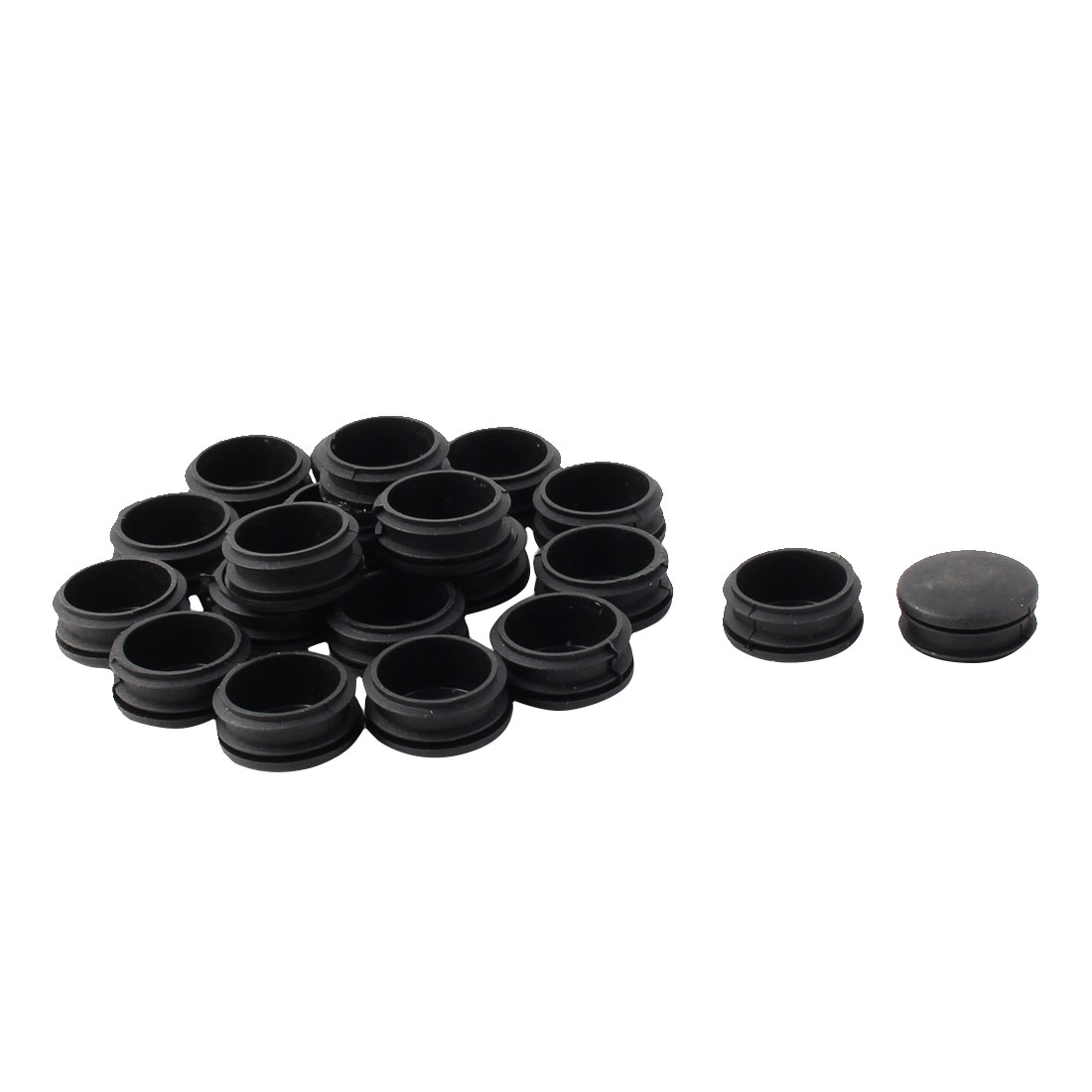 Plastic Round Tube Insert Blanking End Protectors Caps Black 34mm 20 PCS