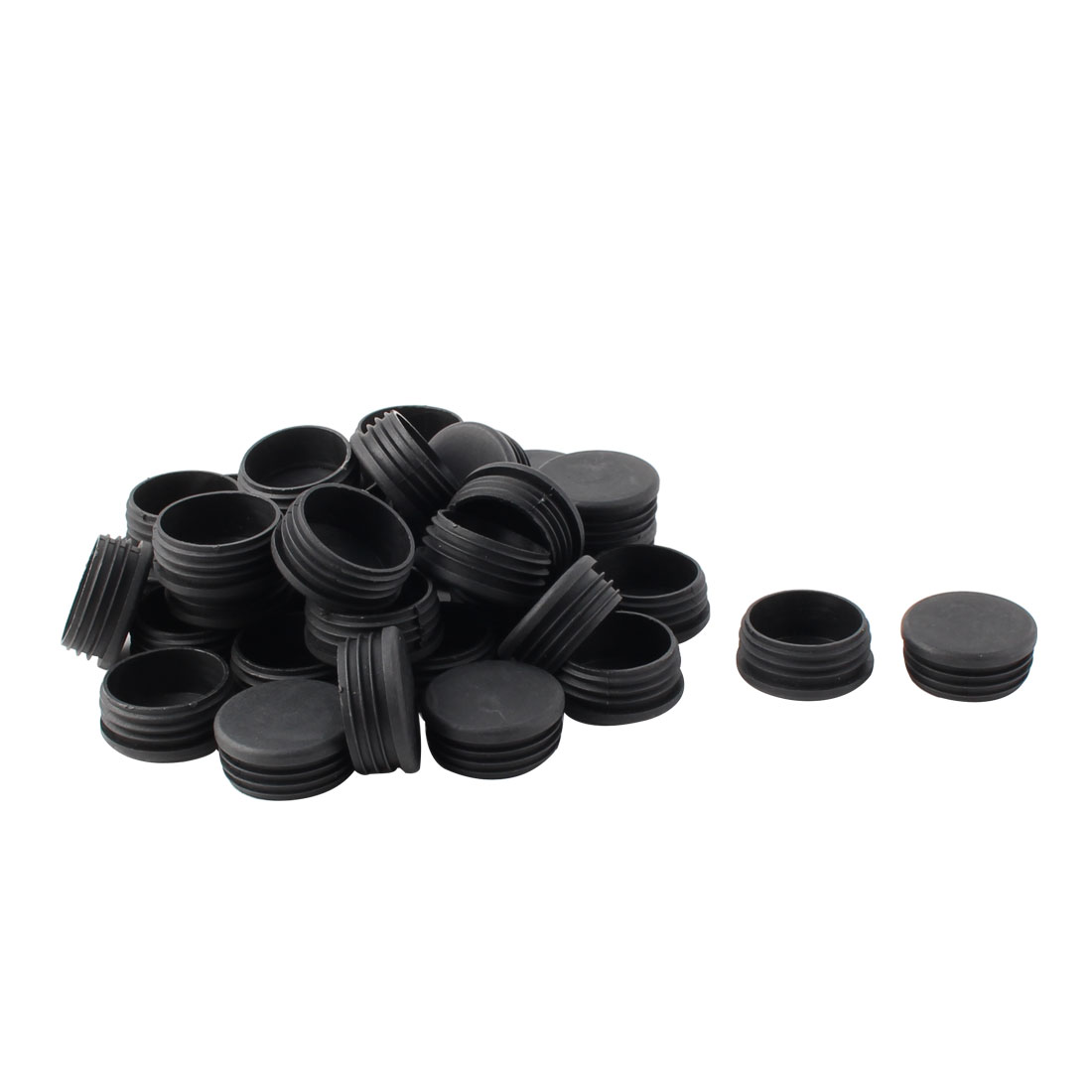 Plastic Round Tube Insert Blanking End Protectors Caps Black 48mm 36 PCS
