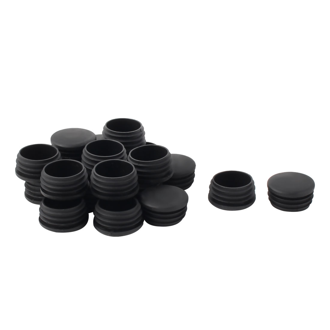 Plastic Round Tube Insert Blanking End Protectors Caps Black 38mm 20 PCS